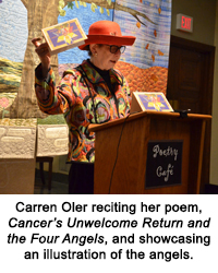 Carren Oler reciting her poem, Cancer's Unwelcome Return and the Four Angels, and showcasing an illustration of the angels.