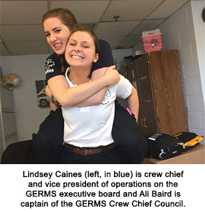 Lindsey Caines, left,  is crew chief and vice president of operations on GERMS executive board and Ali Baird is captain of the GERMS Crew Chief Council.