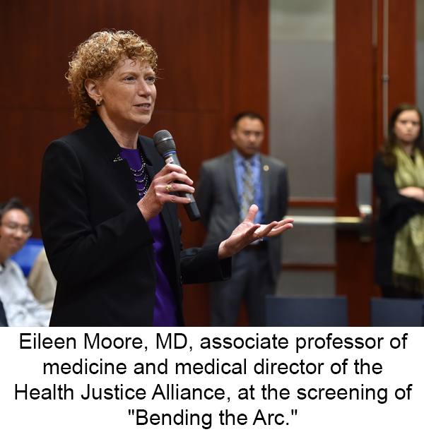 "Eileen Moore, MD, associate professor of medicine and medical director of the Health Justice Alliance, at the screening of ""Bending the Arc."""