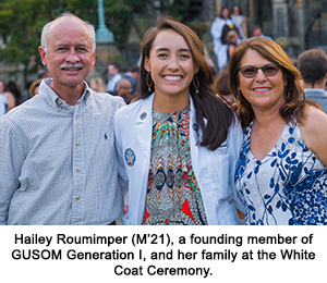 Hailey Roumimper (M'21), a founding member of GUSOM Generation I, and her family at the White Coat Ceremony.