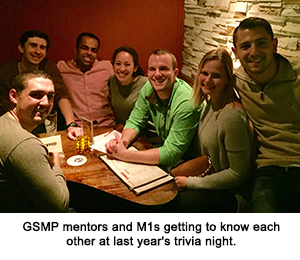 GSMP mentors and M1s getting to know each other at last year's trivia night.