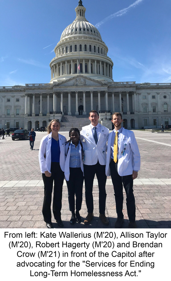 Kate Wallerius, Allison Taylor,Robert Hagerty and Brendan Crow in front of the Capitol.