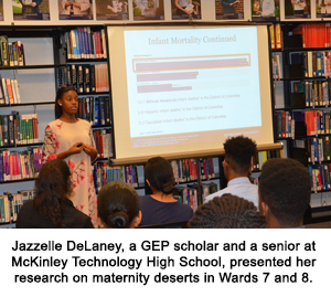Jazzelle DeLaney, a GEP scholar and a senior at McKinley Technology High School, presents her research