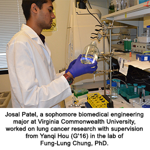 Josal Patel, a sophomore biomedical engineering major at Virginia Commonwealth University, worked on lung cancer research with supervision from Yanqi Hou (G'16) in the lab of  Fung-Lung Chung, PhD.