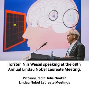 Torsten Nils Wiesel speaking at the 68th Annual Lindau Nobel Laureate Meeting