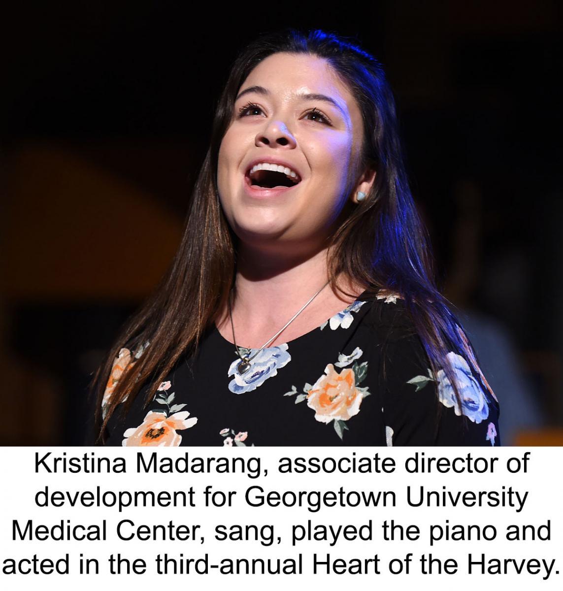 Kristina Madarang sings at the Heart of the Harvey