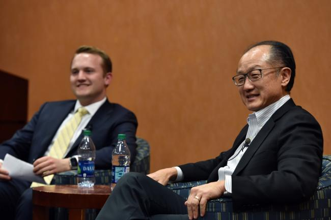 Law student Brian Fiske (left) and Jim Yong Kim, MD, PhD, president of the World Bank