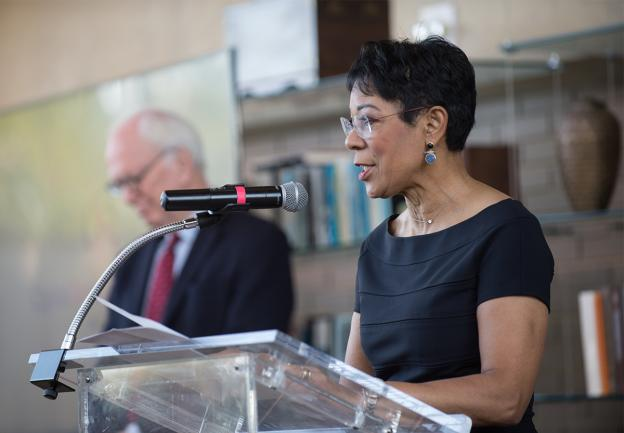 Andrea Roane, retired journalist and breast health advocate, speaking at the Gift of Life Breakfast, an annual benefit for the Capital Breast Care Center (CBCC).