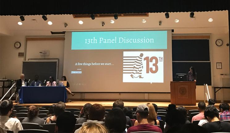 """First-year students at the Georgetown University School of Medicine (GUSOM) prepare for a panel discussion on racism and the U.S. prison system after watching the documentary """"13th."""""""