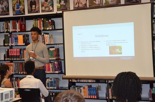 A student gives a presentation