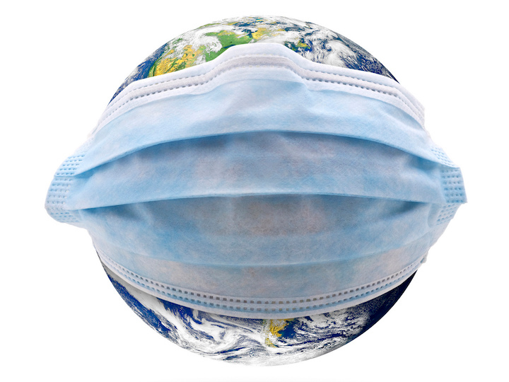 A photo-illustration features a globe image overlaid with a surgical mask image