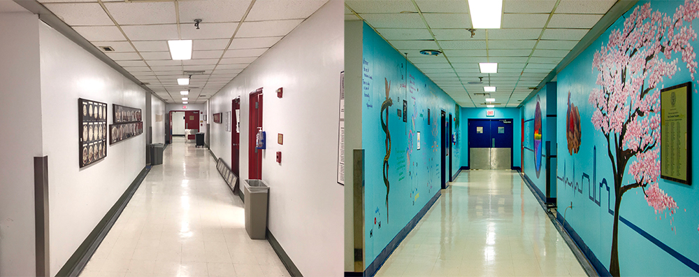 Two images of the same hallway show before murals were painted on the walls and after