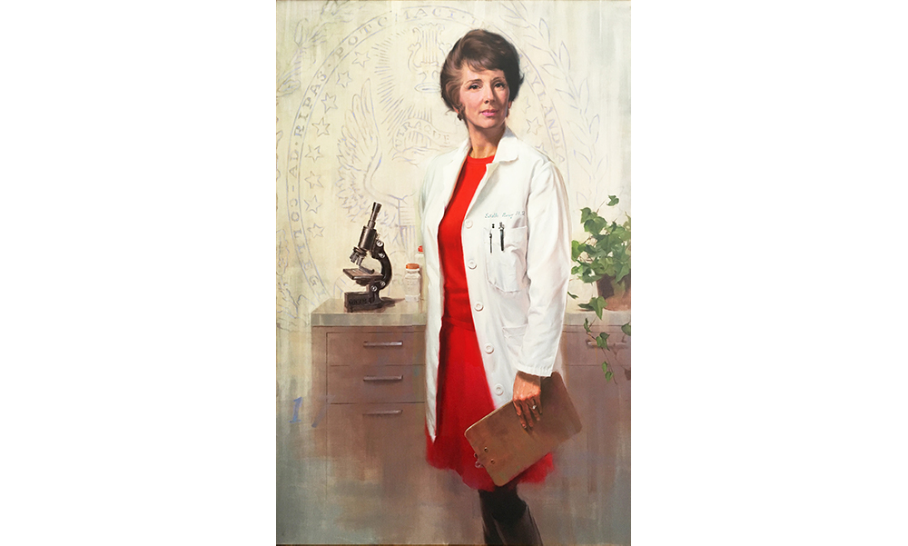 Painted portrait of Estelle Ramey in white doctor's coat