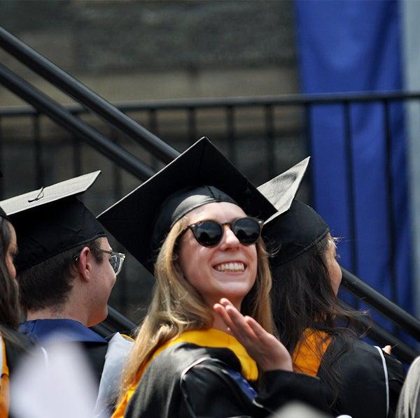 Carolyn Hofley amid others at graduation