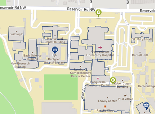 Image of campus map with medical center buildings featured