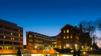 The medical center buildings at twilight