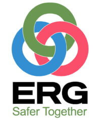 "ERG logo with the tagline ""Safer Together"""