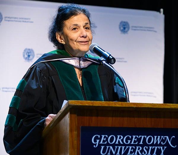 Dr. El-Sadr speaks from a podium