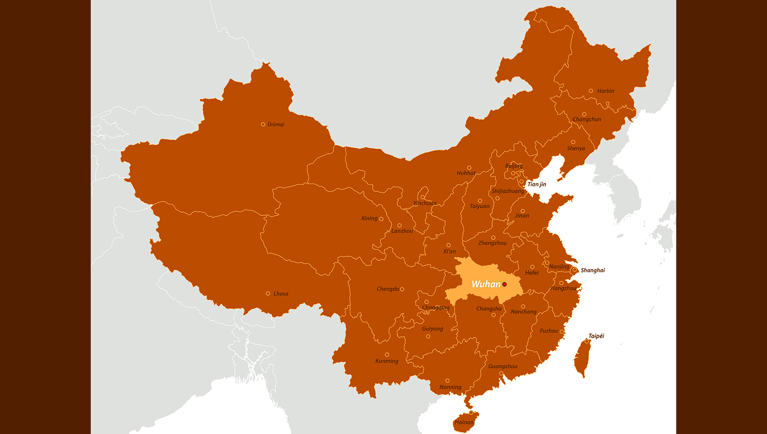 A map of china with Wuhan Province highlighted
