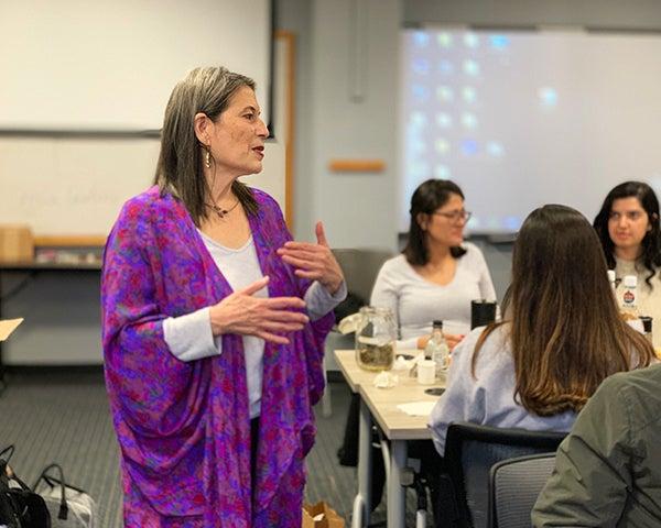 Adriane Fugh-Berman speaks before a class