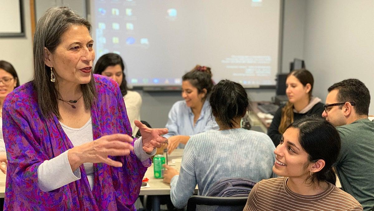 Adriane Fugh-Berman speaks to students in class