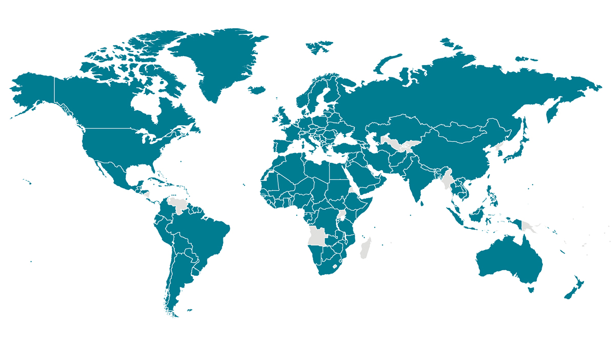 A world map with countries affected by COVID-19 highlighted in blue