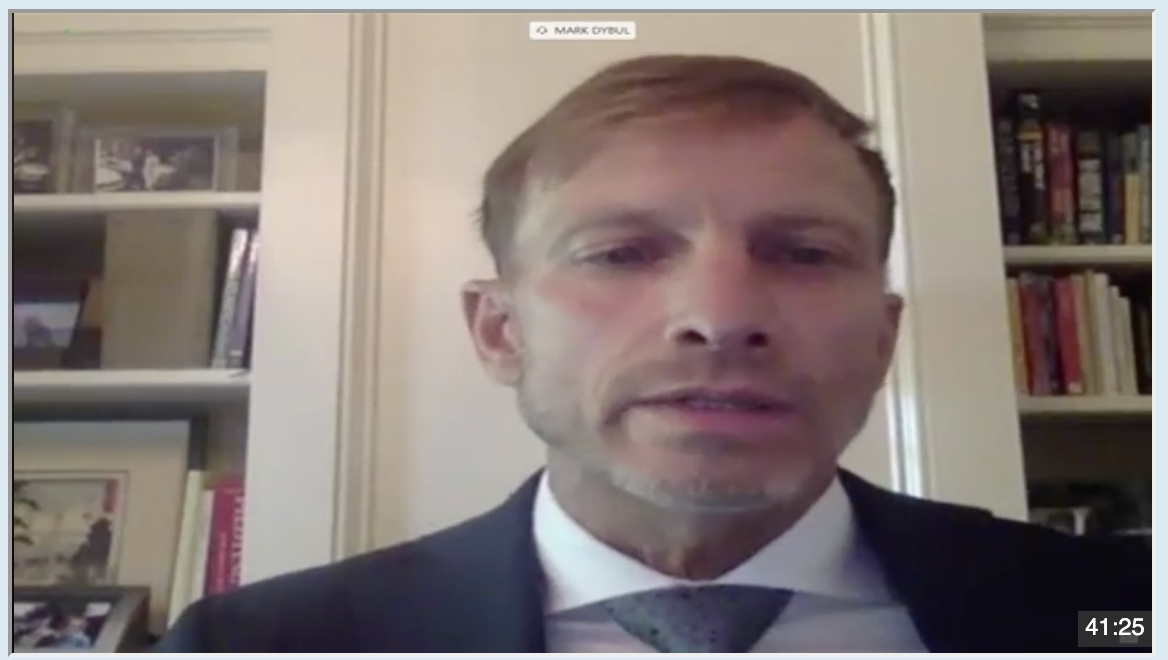 screenshot of Mark Dybul giving testimony