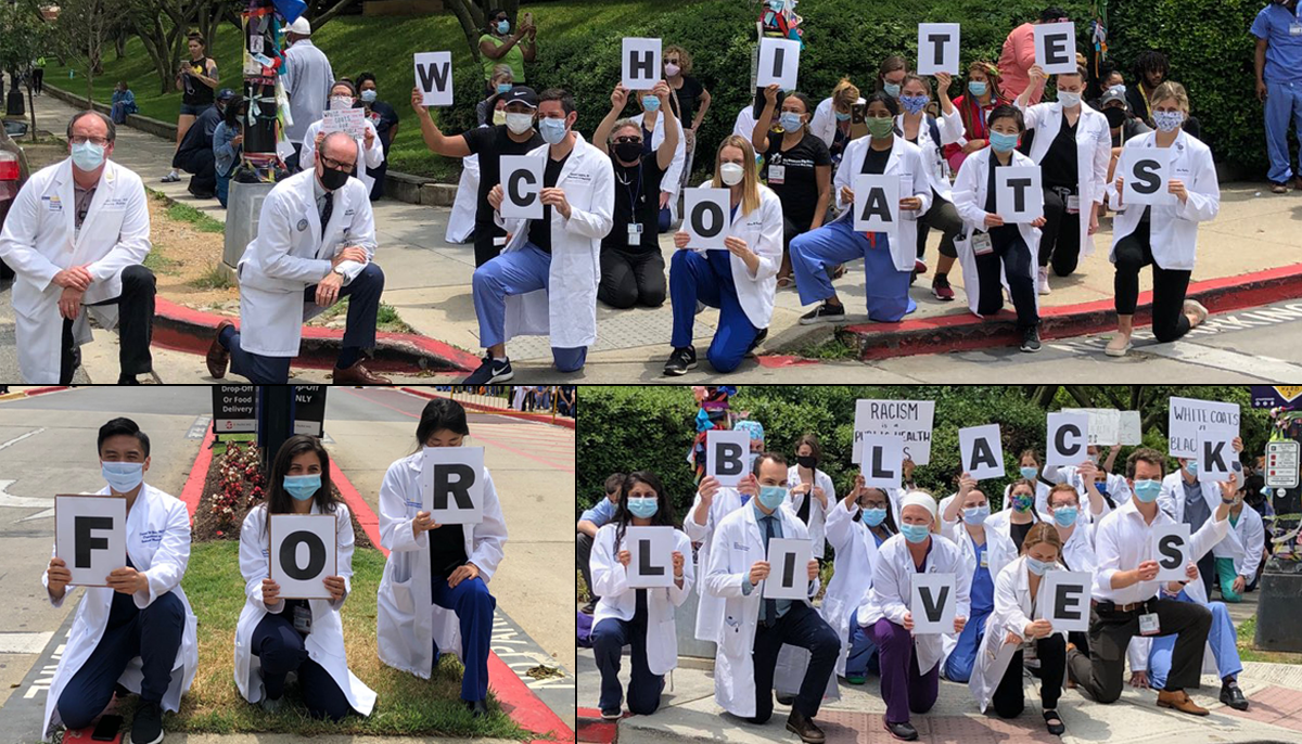 A collage of three images of demonstrators, collectively they display the message White Coats For Black Lives