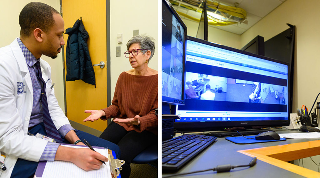 Two side by side images show a doctor speaking with a patient, one in-person, the other displayed on a computer monitor via closed-circuit camera