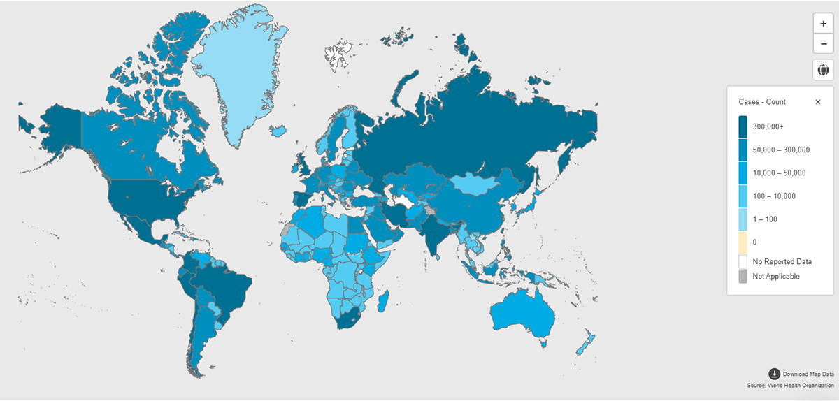 A map of the world shows the distribution of COVID-19 cases in different shades of blue