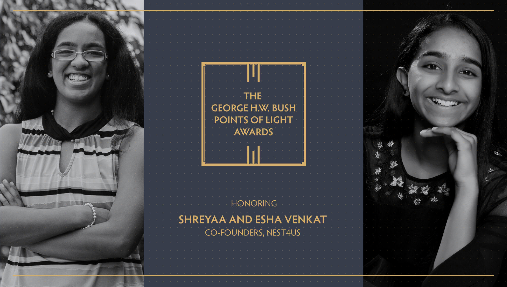 Sisters Shreyaa Venkat (NHS'24) and Esha Venkat are pictured in this graphic for the Points of Light Award