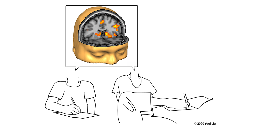 An illustration depicts a brain and line drawing of person writing with a hand and another with a foot