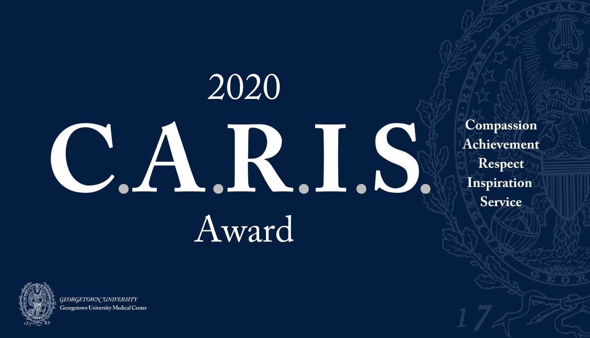 Graphic on blue background that says 2020 CARIS Award, Compassion, Achievement, Respect, Inspiration, Service