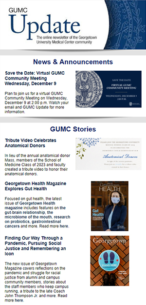 GUMC Update thumbnail for 11/29/20 issue used for decorative purposes