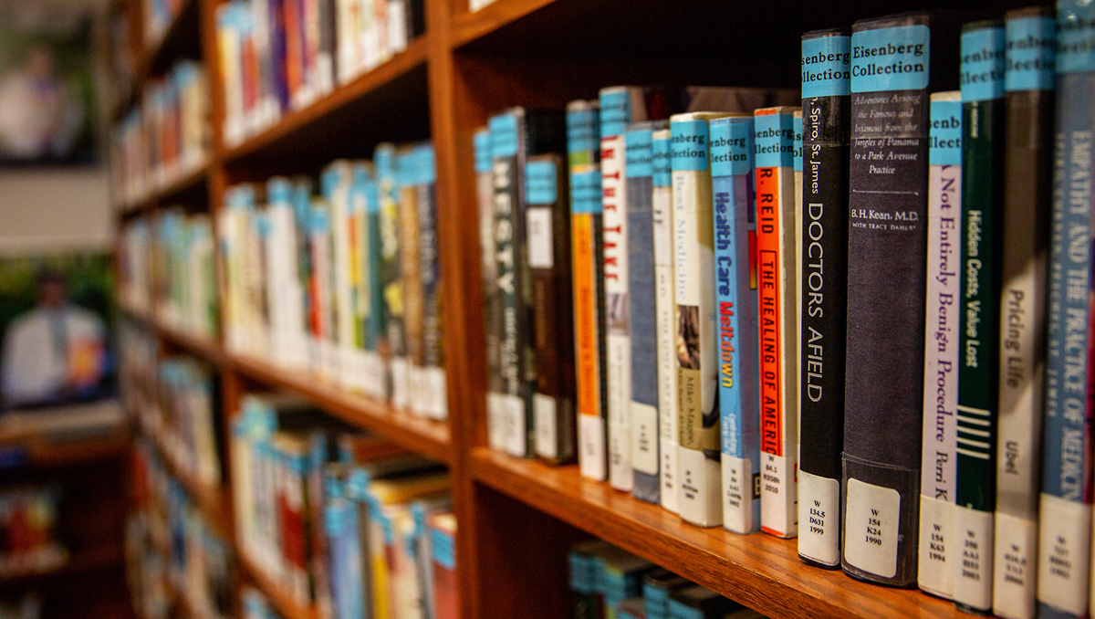 Shelves of books in Dahlgren Memorial Library
