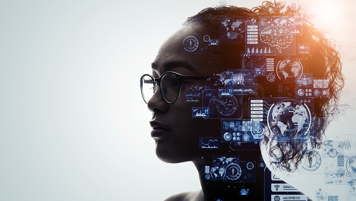A photoillustration features a woman's head in profile overlaid with images indicating artificial intelligence