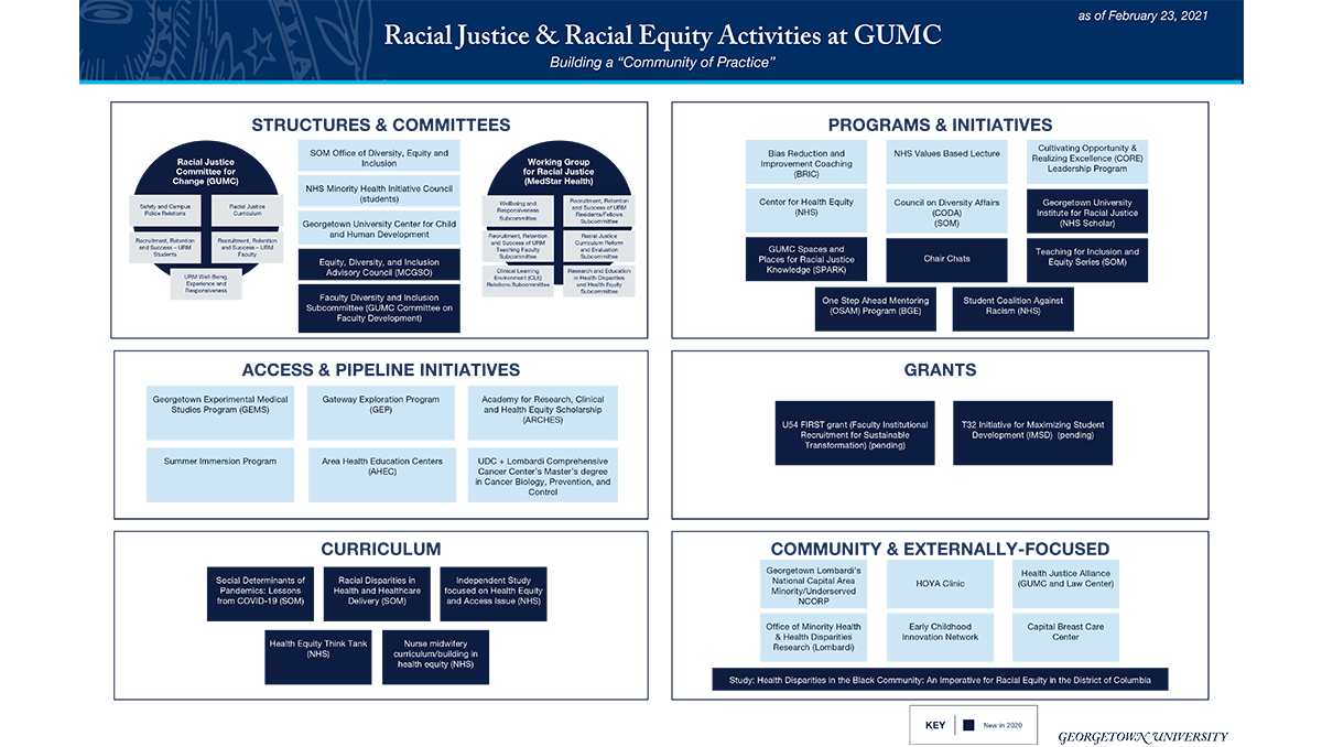 A graphic illustrating all of the programs affiliated with racial justice, for decorative purposes