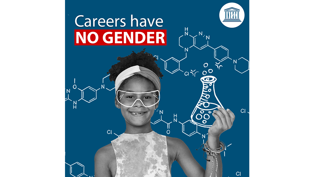 Graphic of a young girl holding an erlenmeyer flask with text above that says Careers have no gender