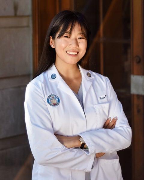 Medical student Karen Li in her white coat