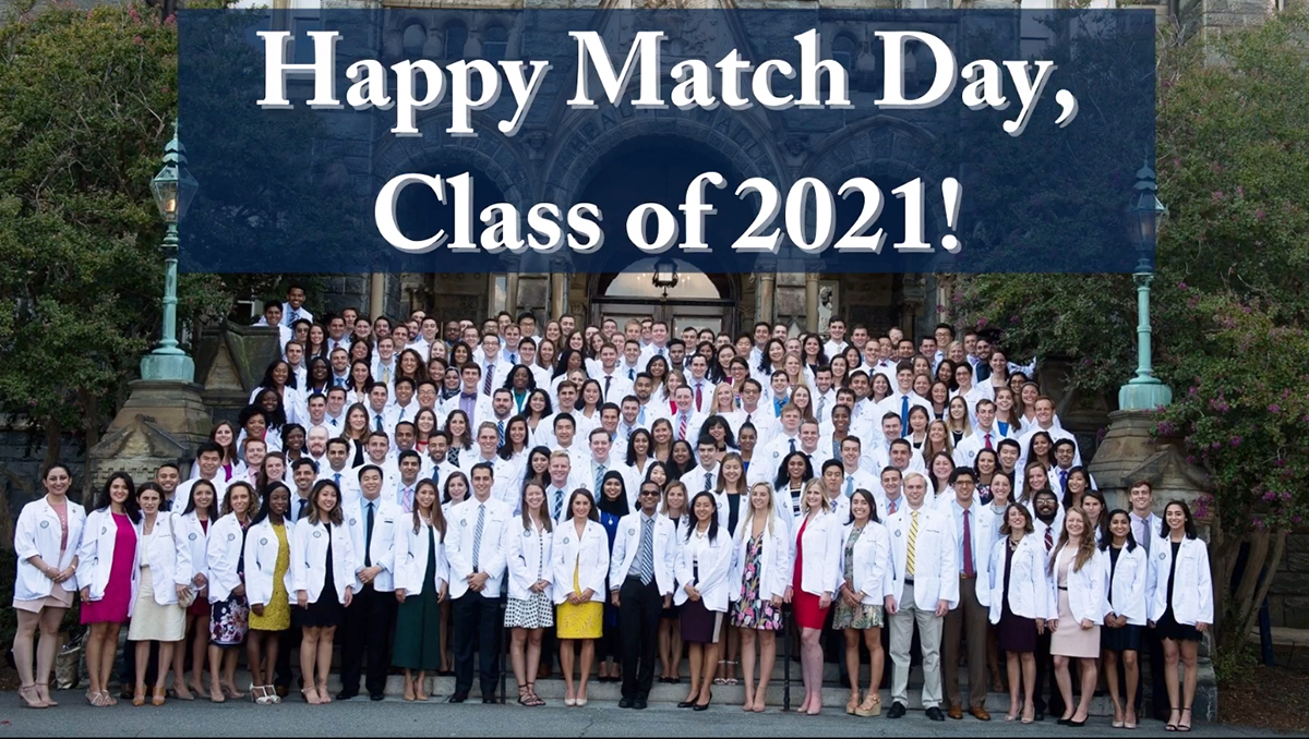 A photoillustration featuring an image of the class of 2021 in their white coats on the steps of Healy Hall, with the words Happy Match Day Class of 2021 above the image