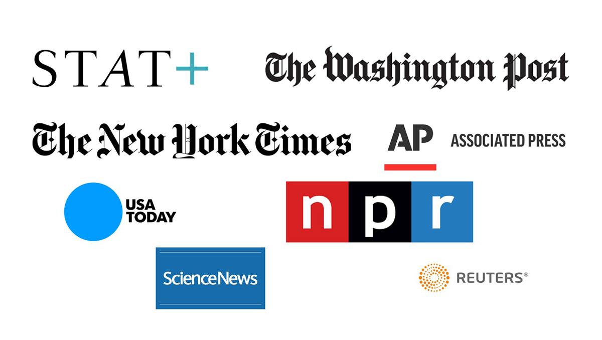 A composite image of the logos of STAT+, The Washington Post, The New York Times, The Associated Press, USA Today, NPR, Science News and Reuters