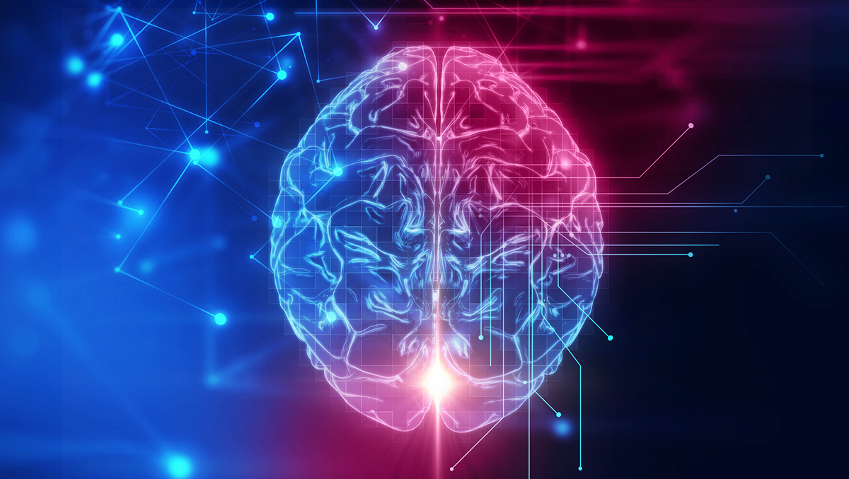 Photoillustration of the outline of a human brain against a colorful background