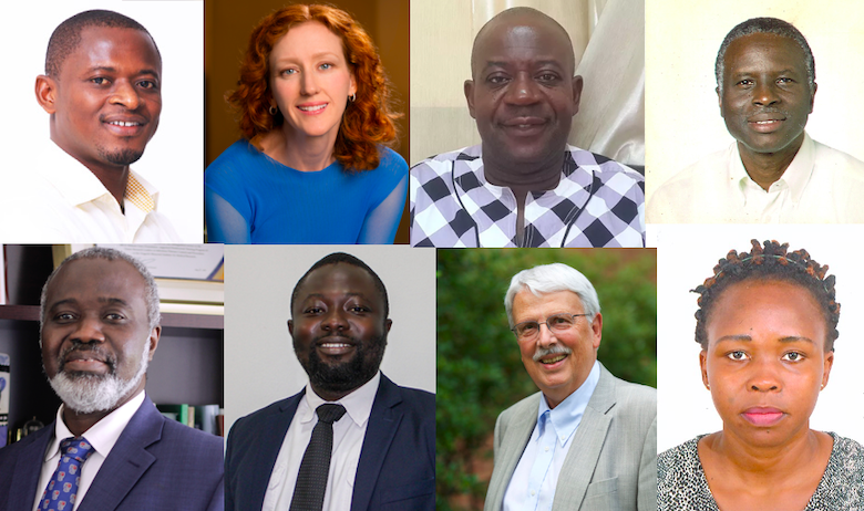 A collage of eight course instructors in the virtual course