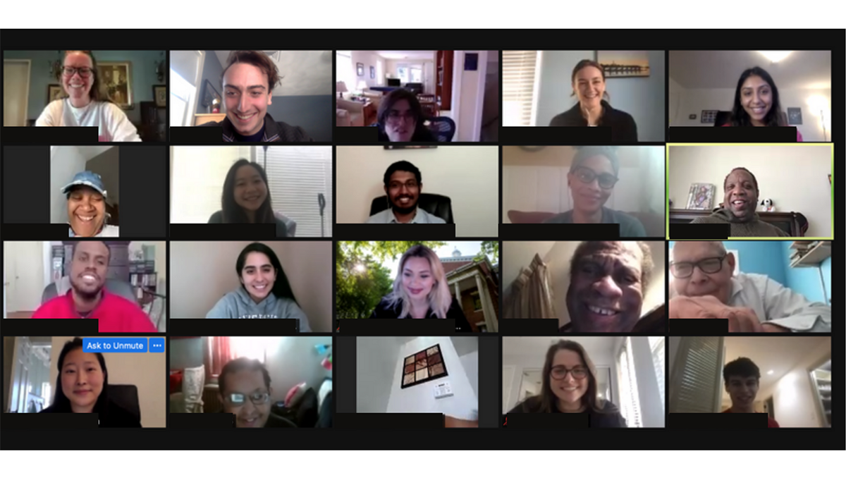 A screenshot of a Zoom meeting of medical students and community members
