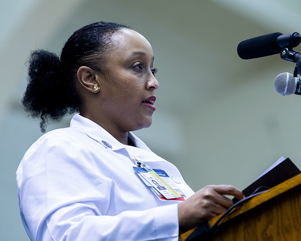 Dr. Michelle Roett speaks during this year's White Coat ceremony