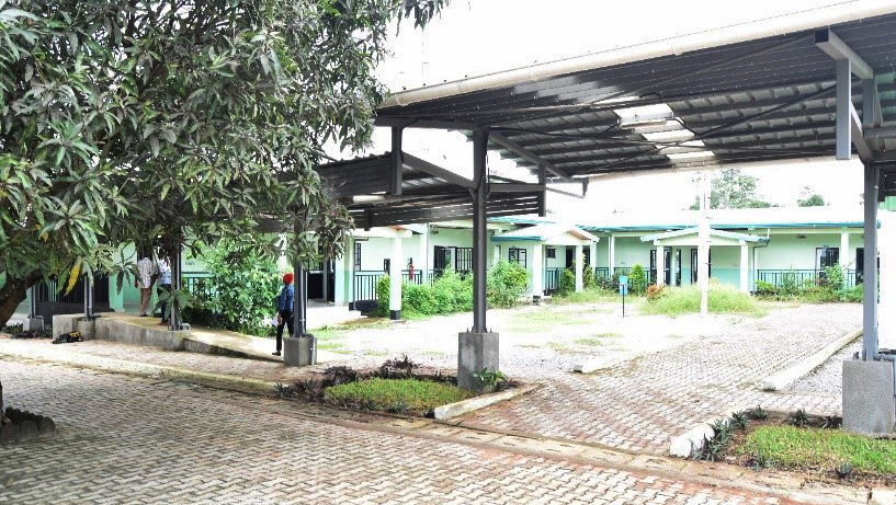 A series of buildings and covered walkways in Guinea, Africa