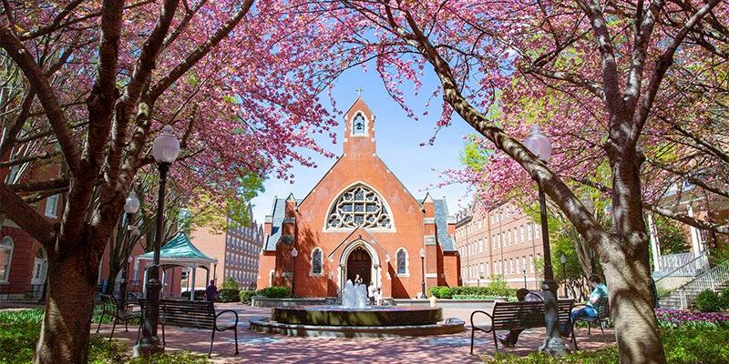 Dahlgren Chapel in spring