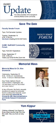 GUMC Update thumbnail for 9/12/21 issue used for decorative purposes